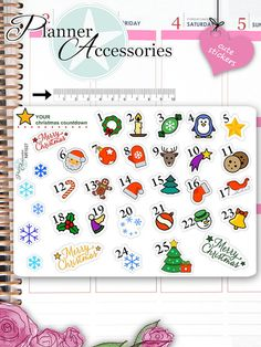 Clear Christmas Countdown StickersChristmas by EmelysPlannerShop