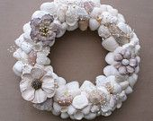 "Wedding wreath , 8.5"" Seashell wreath,  shell wreath, white tan biege, shabby chic, cottage chic, beach wedding, country wedding"