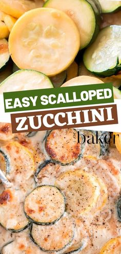 A delicious side dish loaded with zucchini and summer squash all robed in a creamy and cheesy sauce! This Easy Scalloped Zucchini has fresh veggies and is great paired with grilled and baked meats as well as fish. Perfect for your dinners with the family! Side Dishes For Fish, Zucchini Side Dishes, Dinner Side Dishes, Veggie Side Dishes, Healthy Side Dishes, Side Dishes Easy, Vegetable Dishes, Side Dish Recipes, Vegetable Recipes