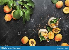 Healthy Apricot Smoothies In Glass Bottles And Fresh Fruits, Top View Stock Image - Image of drink, apricot: 142130291