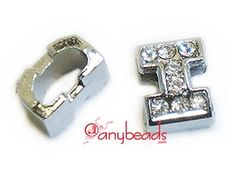 """Alphabet """"i"""" Slide Charm with Crystal Rhinestones. Create your own unique personalized name bracelet."""