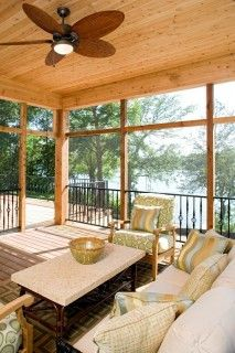 Screened porch, wood ceiling