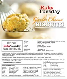 These are the best!  So glad to have the recipe.  Thank you to Ruby Tuesday for posting this to Face Book!