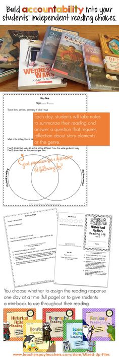 Use this Reading Response log for students to record notes as they read a historical fiction book. This is appropriate for use with a class novel genre study or for independent reading and is open-ended enough to use with a variety of leveled books. Practice reading literature and recording textual evidence, as well as analyzing story elements, making inferences, and thinking critically. For grades 4 - 7 -- from Mixed-Up Files