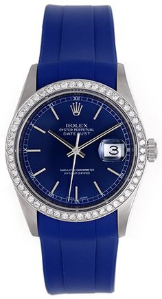 OMG! Rolex Datejust Men's Stainless Steel Diamond Watch on Blue Strap Band 16220