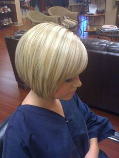 A-Line Bob to firm up the bottom half of your face. Soft layers that curve toward the center of your face . . . Love the coloring!