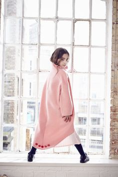 Stunning curved hem pale pink winter coat from OWA YURIKA for fall 2016 girls fashion