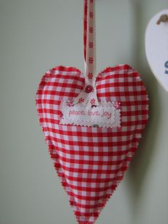 #gingham...inspires me to make ornaments from felt and other cute fabrics!! rick rack edges would be cute!