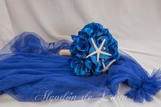 Ramos de flores de tela a juego con sus velos de colores o contrastando algodondeluna@gmail.com o 606619349