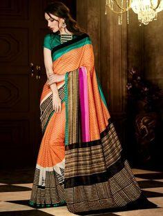 Orange and Cream Bhagalpuri Silk Printed Saree