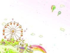 Bebek, ride, tekerlek, evler, gökkuşağı, bulutlar, balonlar vektör