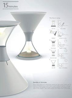 まるで砂時計 砂で光を覆うランプ「15-minutes」