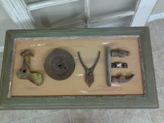"Upcycled ""Junk Art"" on a salvaged cabinet door Pin upcycled Diy Signs, Wood Signs, Metal Crafts, Wood Crafts, Upcycled Furniture, Diy Furniture, Scrap Wood Art, Upcycled Cabinet, Old Cabinet Doors"