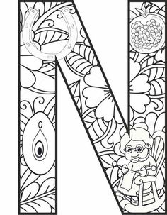 N Harfi Mandala Çalışması - Abc Coloring Pages, Preschool Coloring Pages, Coloring Sheets, Coloring Books, Printable Alphabet Letters, Letter Symbols, Kindergarten Crafts, Preschool Crafts, Preschool Colors