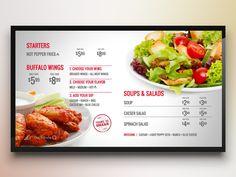 Menuboard Theme for Digital Signage starters rise vision digital signage menuboard salad food menu Drink Menu Design, Menu Board Design, Restaurant Menu Design, Food Design, Digital Menu Boards, Digital Signage Displays, Salad Menu, Stuffed Hot Peppers, Soup And Salad