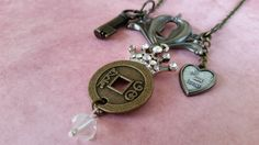 """Tim Holtz Necklace Locket Key and Keyhole + """"All My Heart"""" Charm & ArtiCake Rhinestone Crown + Brass Pendant with Clear Bead - 31 Inch Chain"""