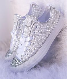 Pearly White and Crystal Low Top Luxe Converse Converse Wedding Shoes, Bling Converse, Wedding Sneakers, Bride Sneakers, Converse Shoes, Galaxy Converse, Converse Style, Converse Chuck, Wedding Tennis Shoes