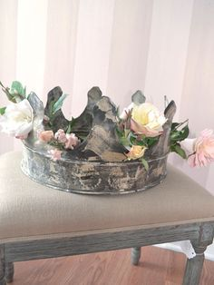 """A gorgeous accent that can be used in many environments: centerpiece for a dining set, garden/mantle accessory, etc. Looks wonderful embellished with flowers or adornments. 8""""t x 14""""w x 14""""d"""