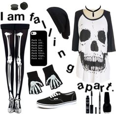 hey, I'm dead by jamkelly on Polyvore featuring polyvore fashion style KAOS Vans Forever 21 NYX