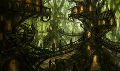 Pin by Amy Wasson on Book Inspiration Fantasy tree Fantasy concept art Fantasy village