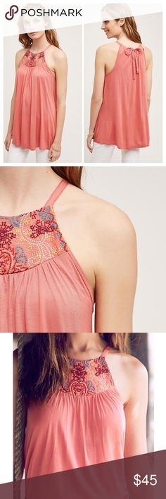 """Anthropologie embroidered halter tank Anthropologie top. NWT. Size XL. One September for Anthropologie. Front embroidery. Peach/orange/pink color. Rayon Ties at nape Measurements: underarm to underarm 22"""", length approximately 31.5"""" Anthropologie Tops Tank Tops"""