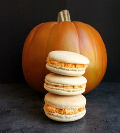 starbucks pumpkin and spice macarons; an espresso and cinnamon macaron shell filled with an amazing pumpkin and spice italian meringue buttercream