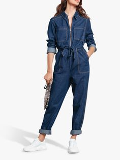 Buy hush Denim Boiler Suit, Denim from our Women's Jumpsuits & Playsuits range at John Lewis & Partners. Free Delivery on orders over Jumper Outfit, Jumpsuit Outfit, Denim Maxi Dress, Denim Jumpsuit, Denim Fashion, Fashion Outfits, Stil Inspiration, Denim Suit, Balloon Pants