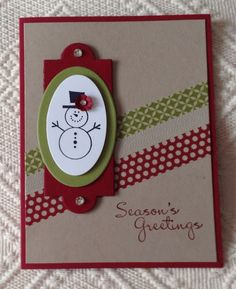 SU! Button Buddies and More Merry Messages stamp sets; colors are Cherry Cobbler, Crumb Cake and Old Olive; Season of Style Washi tape; Apothecary Accents and Oval Framelets; Itty Bitty Punch Pack - Marjorie Gibson