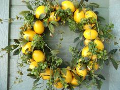 DECOR: Want wreaths to hang on certain parts of the barns to dress them up a bit. Maybe lemons? Mom prefers babies breath or boxwood.