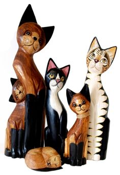 Cats, cats and more cats. Large selection of hand crafted wooden carved cats of all kinds. Made from fast growing soft wood. Hand carved and painted by the craftspeople of Bali that we deal directly with, a 'Fair Trade' product providing a good lively hood for the individuals and their family based businesses. Great gifts for 'Cat lovers' and interesting home decorating accents. http://explorersmarket.com/shop/animal-carvings/cats