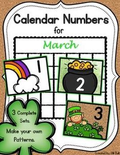 This product contains 3 complete sets of printable calendar numbers appropriate for the month of March