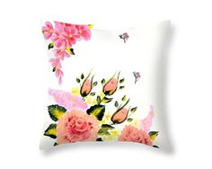 Rose Pillow Cover Spring Pillow Fine Art Accent Pillows