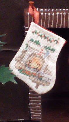 Fireplace miniature stocking by Tricia556 on Etsy