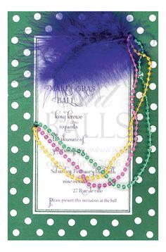 Hokie Pokie Mardi Gras Invitation with Beads from Odd Balls Party Invitations
