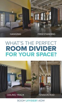 Looking to divide a room or create privacy? RoomDividersNow is the go to provider for all Room Divider needs. Create privacy in minutes with our divider kits! Room Divider Curtain, Diy Room Divider, Divider Ideas, Room Deviders, Sliding Room Dividers, Dividers For Rooms, Apartment Hacks, Rent Apartment, Room Partition Designs