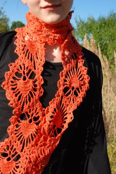 HOLIDAY SALE Crochet Scarf Crochet Lace Scarf by aboutCRAFTS, $35.00