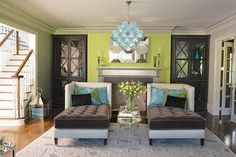 images of turqoise and lime green living rooms - Google Search