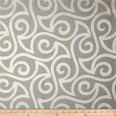 Robert Allen Promo Musical Swirls Jacquard Twine from @fabricdotcom  Refresh and modernize any home decor with this medium weight jacquard fabric. Perfect fabric for revitalizing an old piece of furniture and updating it with a new look. This fabric is an appropriate weight for accent pillows, slipcovers, and upholstering furniture, headboards, poufs and ottomans. Colors include grey and ivory.