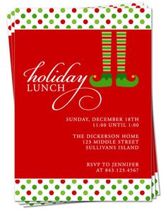 ... Invitation, Holiday Party Invitation, Christmas Dinner or Lunch