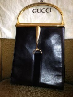 Vintage Gucci Black Leather Bag