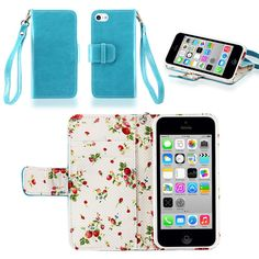 IZENGATE Elegant Floral Skin Premium PU Leather Wallet Flip Case Cover Folio Stand for Apple iPhone 5C (Turquoise Blue):Amazon:Cell Phones & Accessories