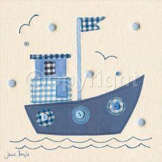 Patchwork Boat Lámina por Jane Doyle na AllPosters. Sewing Appliques, Applique Patterns, Applique Designs, Quilt Patterns, Embroidery Designs, Patchwork Quilting, Applique Quilts, Embroidery Applique, Machine Embroidery