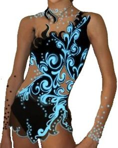 Figure skating dress- black and blue with cut outs and powernet sleeves