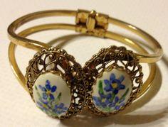 Handpainted Bangle Bracelet Gold Tone with by vintagerepublic1, $16.00