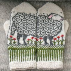 Stricken Ravelry: Sheep mittens pattern by Jorid Linvik, Knitting Needles, Knitting Yarn, Hand Knitting, Knitting Patterns, Crochet Patterns, Knitting Ideas, Mittens Pattern, Knit Mittens, Knitted Gloves