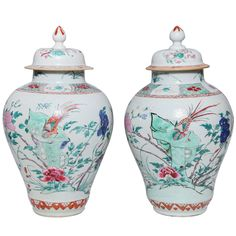 Pair of 18th Century Chinese Export Porcelain Famille Rose Covered Jars 1