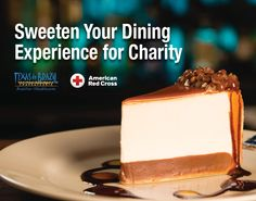 We are donating a $1 to the American Red Cross for every dessert sold in July! HELP US DONATE! Thing 1, American Red Cross, Sweet Treats, Cheesecake, Dining, My Favorite Things, Desserts, Restaurants, Recipes