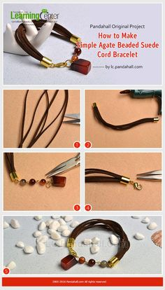 #Beebeecraft Original Project- How to Make Simple Agate Beaded #SuedeCord #Bracelet