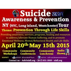 The Carlos L. González Counseling Center  in collaboration with SISFI and The Suicide Prevention Institute invites you to our Suicide Awareness and Prevention NY Tour Launch Conference  Theme: Suicide Prevention Through Life Skills  Providing awareness, services, programs, healing and resources to address/alleviate human suffering, and to promote Emotional Wellness, Mental/Behavioral Health and Life Skills  April 20th 2015 ~ 8am - 2pm  Hostos Community College 500 Grand Concourse, Bronx, NY…