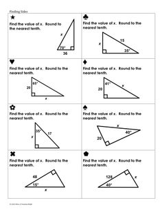 Trig Ratios Sum Em Activity by Mrs E Teaches Math Teaching Geometry, Geometry Activities, Teaching Math, Maths, Math Vocabulary, Math Fractions, Math Classroom, Angles Worksheet, Triangle Worksheet